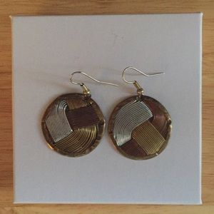 3 tone Circle Earrings on French Wires